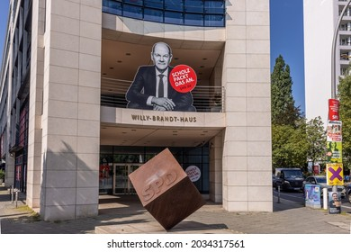 Berlin, Germany - August 24 2021: Willy-Brandt-House, headquarters of the Social Democratic Party (SPD) in Germany promoting their candidat, Olaf Scholz, running for chancellor in Germany