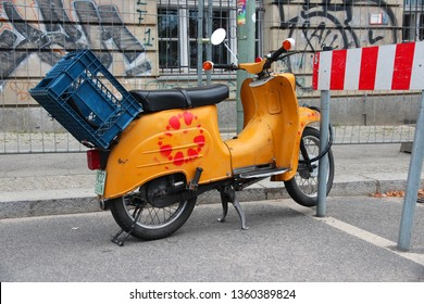 BERLIN, GERMANY - AUGUST 25, 2014: Simson Schwalbe oldtimer scooter parked in Berlin. More than 900 thousand were produced in 1959-1986.