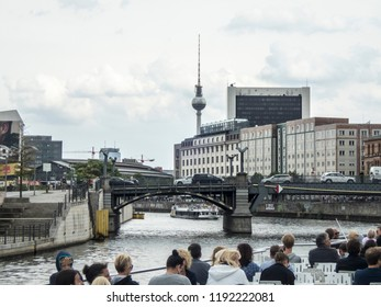 Berlin, Germany - August 25, 2018: The famous TV-tower of Berlin seen from the river Spree.