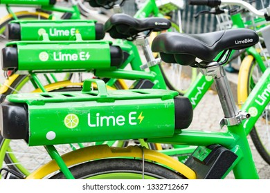 Berlin, Germany - August 25, 2018: LimeBike bicycle. Lime Bike is a bicycle-sharing company based in California operating dockless bicycle-sharing systems using a mobile app for reservations