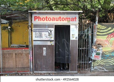 BERLIN, GERMANY - AUGUST 26, 2014: Typical photo booth in Wrangelkiez area of Kreuzberg district in Berlin. Photoautomats of Berlin are among its most typical tourism attractions.