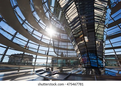 Berlin, Germany - August 26 2016: Some people visit to modern glass dome of Bundestag, summer time