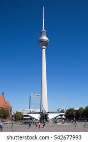 BERLIN, GERMANY - AUGUST 26, 2016: Place near Berlin TV Tower