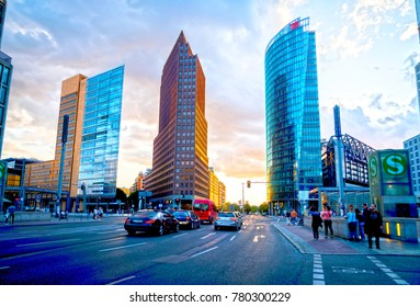 BERLIN, GERMANY - AUGUST 28; Architectural HDR at dusk three new urban development ultra-modern architectural high-rise buildings  Potsdamer Platz, a modern city square August 28, 2017 Berlin Germany