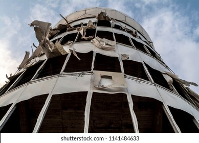 BERLIN, GERMANY, AUGUST 29, 2009: Detail view of the tower at former NSA listening station on the top of Teufelsberg.