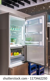 Berlin, Germany, August 29, 2018, Bosch fridge refrigerator freezer at Robert Bosch exhibition pavilion, stand at Global Innovations Show IFA 2018,
