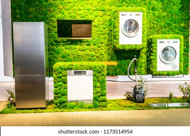 Berlin, Germany, August 29, 2018, green Silence Calm ecofriendly Bosch dishwasher, washing machine, vacuum cleaner, fridge at Robert Bosch exhibition, stand at Global Innovations Show IFA 2018,