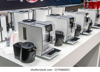 Berlin, Germany, August 29, 2018, Jura automatic coffee machines at JURA exhibition pavilion, stand at Global Innovations Show IFA 2018,