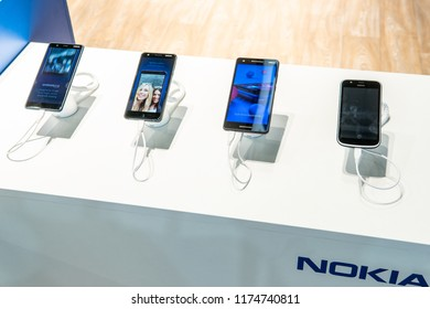 Berlin, Germany, August 29, 2018, new Nokia smartphones with Android system at Nokia exhibition pavilion showroom, stand at Global Innovations Show IFA 2018,