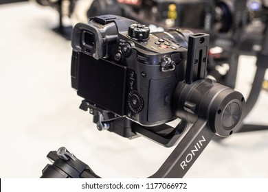 Berlin, Germany, August 29, 2018, DJI Ronin-S 3-axis gimbal for photography and videography with DSLR, mirrorless cameras, at DJI exhibition stand at Global Innovations Show IFA 2018,