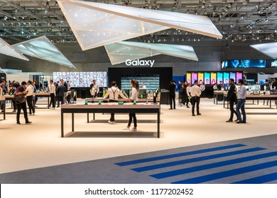 Berlin, Germany, August 29, 2018, Samsung Galaxy smartphones, smartwatches, tablets at Samsung exhibition showroom, stand at Global Innovations Show IFA 2018,