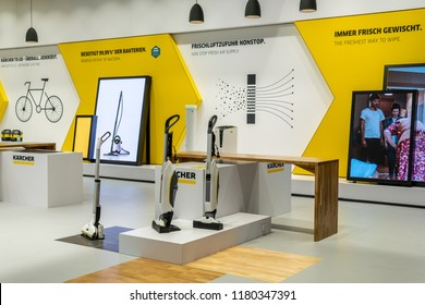Berlin, Germany, August 29, 2018, Karcher home appliances at Alfred Kaercher exhibition pavilion schowroom, stand at Global Innovations Show IFA 2018,