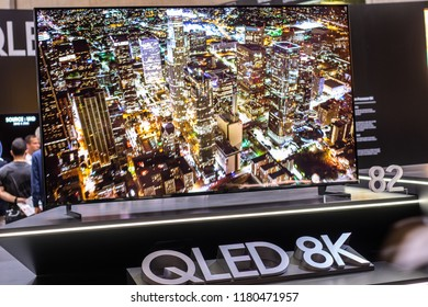 Berlin, Germany, August 29, 2018, Samsung QLED 8K HDR 82inch Smart TV on display, at Samsung exhibition pavilion showroom, stand at Global Innovations Show IFA 2018,