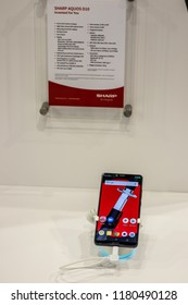 Berlin, Germany, August 29, 2018, Sharp Aquos D10 smartphone with notch, presentation features of Sharp Aquos D10 with Android at Sharp exhibition pavilion, stand at Global Innovations Show IFA 2018,