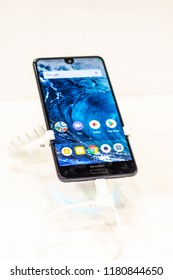 Berlin, Germany, August 29, 2018, Sharp Aquos C10 smartphone with notch, presentation features of Sharp Aquos C10 with Android at Sharp exhibition pavilion, stand at Global Innovations Show IFA 2018,