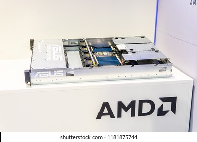 Berlin, Germany, August 29, 2018, Asus server with AMD Epyc CPU at AMD exhibition pavilion showroom, stand at Global Innovations Show IFA 2018,