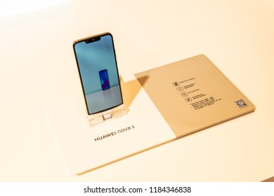 Berlin, Germany, August 29, 2018, Huawei Nova 3 smartphone, presentation features of Nova 3 with Android at Huawei exhibition pavilion, stand at Global Innovations Show IFA 2018,