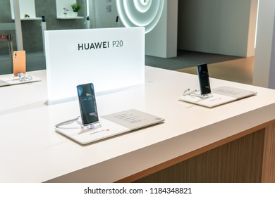Berlin, Germany, August 29, 2018, Huawei P20 Pro smartphone, presentation features of P20 Pro with Android at Huawei exhibition pavilion, stand at Global Innovations Show IFA 2018,
