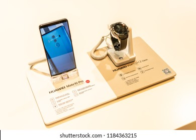 Berlin, Germany, August 29, 2018, Huawei Mate 10 PRO smartphone and Huawei Watch2 Classic smartwatch on display, at Huawei exhibition showroom, stand at Global Innovations Show IFA 2018,