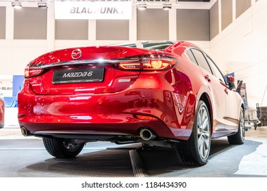 Berlin, Germany, August 29, 2018, metallic red Mazda 6 sedan at Mazda exhibition pavilion showroom, stand at Global Innovations Show IFA 2018,
