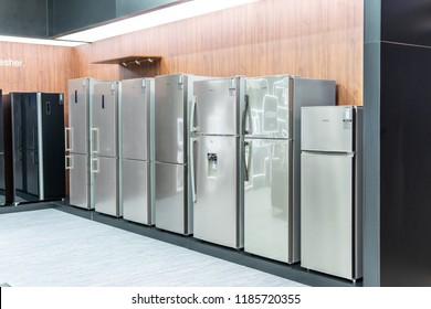 Berlin, Germany, August 29, 2018, free-standing silver inox Skyworth fridge refrigerator freezer at Skyworth exhibition pavilion showroom, stand at Global Innovations Show IFA 2018,