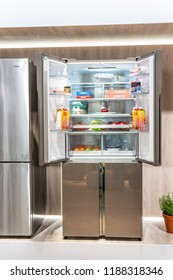 Berlin, Germany, August 29, 2018, free-standing Haier fridge refrigerator freezer at Haier exhibition pavilion showroom, stand at Global Innovations Show IFA 2018,