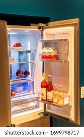 Berlin, Germany, August 29, 2018, Beko fridge refrigerator freezer at Beko exhibition pavilion showroom, stand at Global Innovations Show IFA 2018