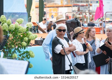 Berlin, Germany - August 29, 2019: Lotus Grandmaster Wei Ling Yi, a renowned Chinese teacher of health and wisdom and a spiritual teacher, during the International YiXue Art Festival