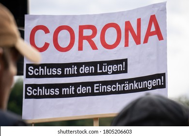 BERLIN, GERMANY August 29, 2020. Demo in Berlin with the police at the Victory Column against the Corona Covid-19 regulations and for human rights.