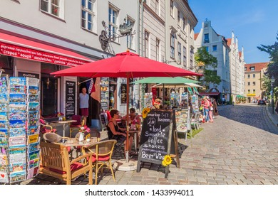 BERLIN, GERMANY - AUGUST 30, 2017: Cobbled street in Nikolaiviertel neighborhood in Berlin, Germany