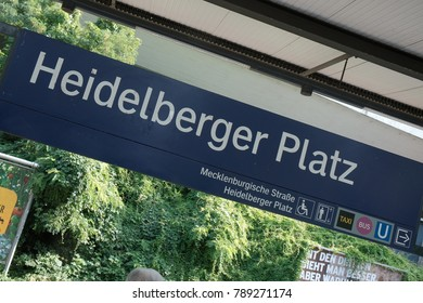 Berlin, Germany - August 31, 2017: Heidelberger Platz underground station. Heidelberger Platz is a railway station in the Wilmersdorf district of Berlin. It is served by S-Bahn lines S41, S42 and S46