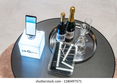 Berlin, Germany, August 31, 2018, LG G7 ThinQ smartphone on display, at LG exhibition pavilion showroom, stand at Global Innovations Show IFA 2018,