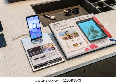 Berlin, Germany, August 31, 2018, LG Q7 ThinQ smartphone on display, at LG exhibition pavilion showroom, stand at Global Innovations Show IFA 2018,
