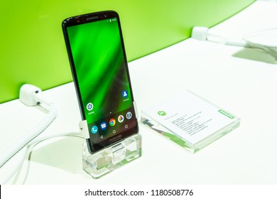 Berlin, Germany, August 31, 2018, Motorola Moto G6 Plus smartphone on display, with Android at Motorola exhibition pavilion showroom, stand at Global Innovations Show IFA 2018,