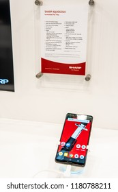 Berlin, Germany, August 31, 2018, Sharp Aquos D10 smartphone with notch, presentation features of Sharp Aquos D10 with Android at Sharp exhibition pavilion, stand at Global Innovations Show IFA 2018,