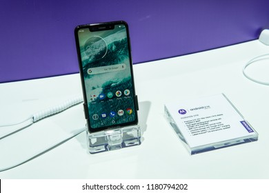 Berlin, Germany, August 31, 2018, Motorola One smartphone on display, presentation of MotorolaOne with notch, Android, Motorola exhibition pavilion showroom, stand at Global Innovations Show IFA 2018