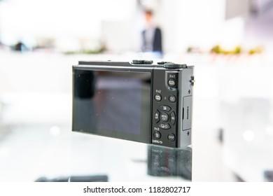 Berlin, Germany, August 31, 2018, Panasonic Lumix LX15 4K WIFI 3x Zoom Digital Ultra HD Camera on display at Panasonic exhibition pavilion showroom, stand at Global Innovations Show IFA 2018,