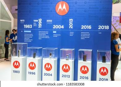 Berlin, Germany, August 31, 2018, Motorola DynaTac, StarTac, Razr, Moto G, Moto Z, 5G mod smartphone at Motorola exhibition pavilion showroom, stand at Global Innovations Show IFA 2018,