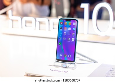 Berlin, Germany, August 31, 2018, Huawei Honor 10 smartphone, presentation features of Honor 10 with Android at Huawei exhibition pavilion, stand at Global Innovations Show IFA 2018,