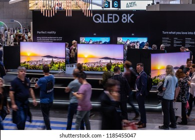 Berlin, Germany, August 31, 2018, Samsung QLED 8K HDR 82inch Smart TV on display, at Samsung exhibition pavilion showroom, stand at Global Innovations Show IFA 2018,