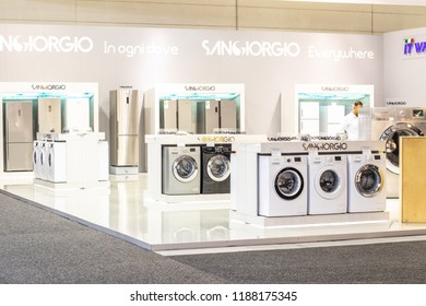Berlin, Germany, August 31, 2018, free-standing Sangiorgio Washing Machine on display, at Sangiorgio exhibition pavilion showroom, stand at Global Innovations Show IFA 2018,