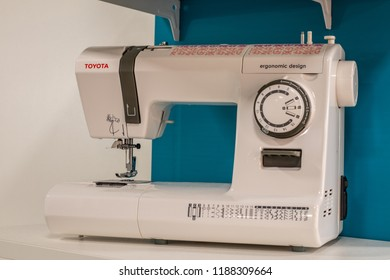 Berlin, Germany, August 31, 2018, Toyota Sewing Machine on display at Toyota exhibition pavilion showroom, stand at Global Innovations Show IFA 2018,