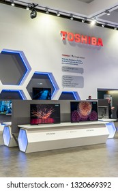 Berlin, Germany, August 31, 2018, Toshiba Ultra HD HDR10 Smart OLED Premium TV on display, at Toshiba exhibition pavilion showroom, stand at Global Innovations Show IFA 2018,