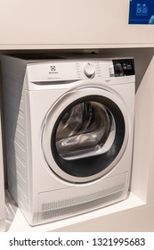 Berlin, Germany, August 31, 2018, free-standing Electrolux Washing Machine Tumble Dryer on display, at Electrolux exhibition pavilion showroom, stand at Global Innovations Show IFA 2018,