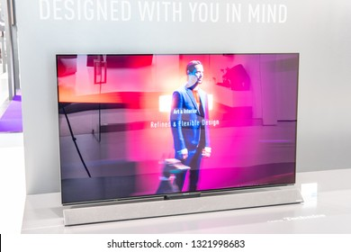 Berlin, Germany, August 31, 2018, Panasonic Ultra HD HDR10 Smart OLED Premium TV on display, at Panasonic exhibition pavilion showroom, stand at Global Innovations Show IFA 2018,