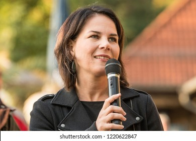 Berlin, Germany - August 31st 2018: Head of German Green Party Annalena Baerbock speaking at Green Party summer festival about the right-wing threat in Chemnitz
