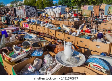 BERLIN, GERMANY - AUGUST 6, 2017: View of a flea market in Mauerpark in Berlin.