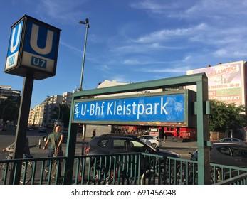 Berlin, Germany - August 6, 2017: Kleistpark U-Bahn station sign. Kleistpark is a Berlin U-Bahn station on the U7 line