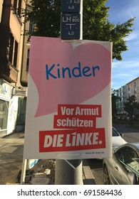 Berlin, Germany - August 6, 2017: Election campaign billboard of German political party Die Linke. The Left Party is a democratic socialist and left-wing populist political party in Germany