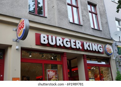 Berlin, Germany - August 6, 2017: Burger King signboard. Founded in 1953, Burger King is a chain of fast food restaurants with over 12,000 locations worldwide